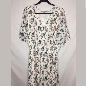 Loft White Floral Print Ruffled Short Sleeve Dress